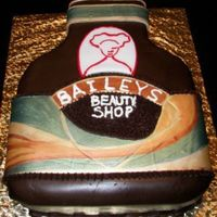Bailey's Irish Cream Bottle Irish Cream flavor cake with MMF and handpainted label for a Beauty Shop Promotion