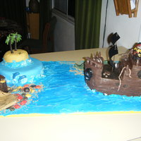 Pirate Ship I loved doing this cake everything is edible except the sails.