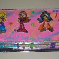 Bratz I loved doing this cake, everything is edible, the legs broke off one of them, but the birthday girl did'nt mind.