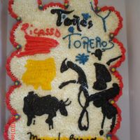 Toros My very bad attempt to produce a Picasso in cake, Oh well, I tried and hopefully he would'nt hate it, the b-day boy loved it