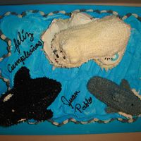 Sea World Cake  My nephew could go to sea world for his b-day so I gave him the next best thing, sea world on a cake, (ccc with carved cake animals on top...