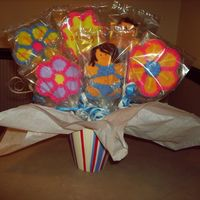 My First Cookie Boquet My first attempt at a cookie boquet. It was for my friend's birthday. I love the gingerbread people. These two are in swim suits. I...