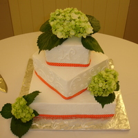 Fall Wedding Square wedding cake with b/c icing and grossgrain ribbon. Real hydrangeas on the top and corners. Cake flavors were yellow with orange...