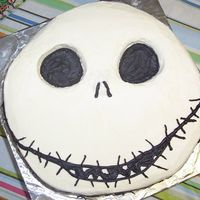 "Jack Skellington Face This is a 12"" chocolate cake with white chocolate custard filling and buttercream frosting. I hollowed out the eyes a bit, because..."