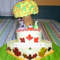 Picnic Birthday This is lemon with raspberry filling and lemon BC. All critters/leaves in MMF, tree in rice krispie with fondant trunk and BC leaves. It...