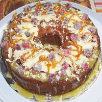 Cranberry Cake This is a fresh cranberry, white chocolate with orange zest cake, with white chocolate/orange glaze. Sugared cranberrys, white chocolate...