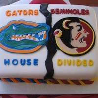 House Divided This was a groom's cake, Gators vs Seminoles all done in fondant.