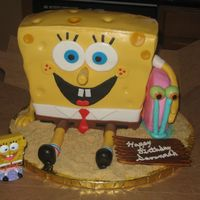 "Sponge Bob & Gary This was for a little girl's birthday. All done in MMF. The ""sand"" is crushed vanilla wafers it doesn't clump up like..."
