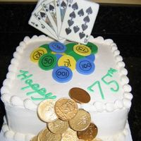 "Poker Cake Edible image ""glued"" to white chocolate, fondant poker chips, chocolate coins and cigar"