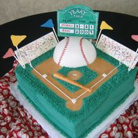 "Baseball Diamond This cake was for a wedding rehearsal dinner and the groom is a huge baseball fan. Gumpaste scoreboard, white chocolate ""stands""..."