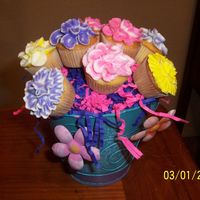 Cupcake Boquet I used mini cupcakes for these, I think they look better. This was for my cusin she broke her leg in a car accident..TLF!!!.