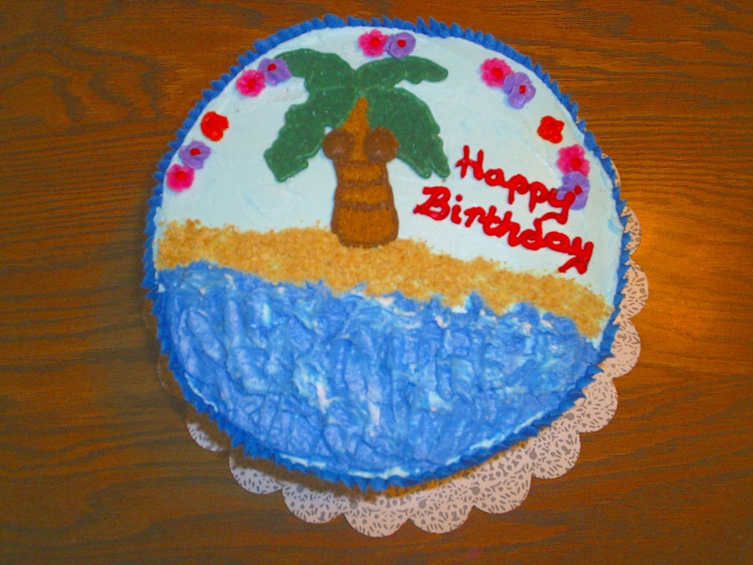 Birthday Hawaiian My mom has a daycare and one of the parents wanted a Hawaiian theme cake for her boss at work. He got a kick out of the coconuts on the...