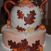 Teapot Birthday Cake Snickerdoodle cake decorated with fondant.