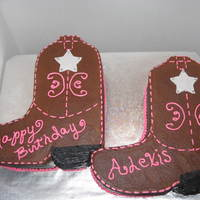 Cowboy Boots These are boots made for a pony party. buttercream fondant stars to look like sheriff badges. Just cut the boots out of a 11X19 rect. cake...