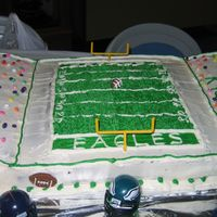 Eagles I made this cake at the last minute. My son is a huge fan of the Philadelphia Eagles so I decided to surprise him with a football field...