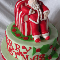 Sleeping Santa Dummy cake for fair. gumpaste santa