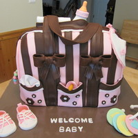 "Diaper Bag Cake The diaper bag is made from three 10""x15"" sheet cakes cut in half lengthwise and then stacked. A total of six 2"" cakes. The..."