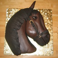 Horses Head This cake was made for my nephews birthday. I began with a double layered square cake and hand carved it. It is covered with chocolate...