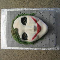 Batman Beyond The Joker The Joker is hand carved. Covered with fondant. Face details painted on with icing colors. The bottom cake is covered with buttercream...