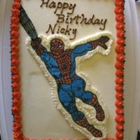 Spiderman Cake Chocolate cake, chocolate BC filling, chocolate BC icing on the sides, vanilla BC on top. FBCT Spiderman.