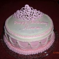 Princess Birthday   yellow cake, BC filling and icing. first try at RI tiara and practicing stringwork.