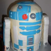 "R2D2  12"" tall cake - chocolate, vanilla, lemon, marble. BC icing and MMF accents. Styrofoam arms covered with MMF; arms aren't..."
