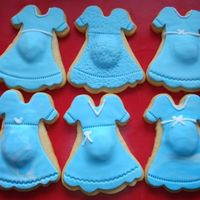 Baby Shower Boy Bump Or Baby Belly Dress Cookies NFSC with rolled Fondant & RI details. I cut the cookie then made a little ball of dough to stick on before baking. Then I had to...