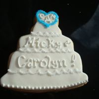 Wedding Cake Cookie For Bridal Shower NFSC covered with fondant and antionia74's RI. Made this one for the bride-to-be only. I was excited to test out this new cutter but...