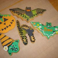 Halloween Cookies Witch Cat Bat Pumpkin My first professional looking sugar cookies from a class I took with the owners from Flour Pot (they have a book too) Rolled Fondadnt with...