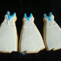 Bride Wedding Dress Bridal Shower Cookies NFSC covered with fondant and antionia74's RI. Real wedding dress had a blue v-neck to match the brides dress. I wanted to try out...