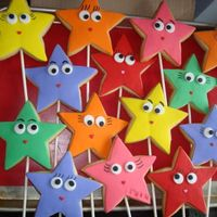 Dora Star Type Cookies On A Stick NFSC covered with fondant & all fondant little cut out details stuck on with RI. Eyelashes & eyebrows are drawn on slowly with a...