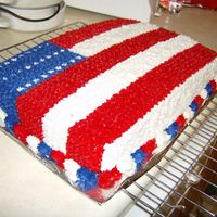 American Flag Cake  This was for a birthday party. The number of stars are the recipient's age. It's a double layer white cake with buttercream icing...