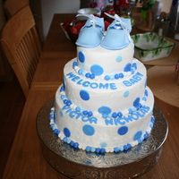 Baby Shower  Baby Shower cake for my dh's best friend. I did everything the night before, including the baking and the fondant shoes (I should have...
