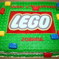 Lego Cake Lego cake, yellow cake, buttercream frosting, edible image on top, rice crispies squares covered in mmf to make the legos, made dots of...
