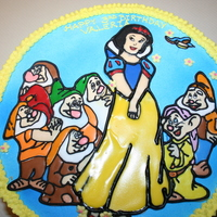 Snowwhite  Snowhite and seven dwarfs cake. White cake with strawberry mousse, image made with color flow and got ruined in the refrigerator. The black...