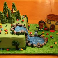 Dora Birthday Cake  I made this for my daughter's 2nd birthday. Everything is edible except for Dora, Boots, and Swiper. Dora's house is made of rice...