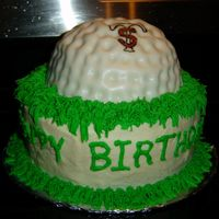 Golf Ball  I was asked to make this cake for a 12 year old boy. He loves to play golf. His initial are S.T. so my wonderful husband designed and drew...