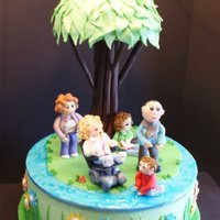 Family Fun 14x4 round french vanilla WASC cake. Every element in this cake had a story behind it; the hardest part was incorporating everything they...