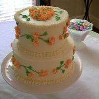 Pierson Shower Brides colors were ivory and peach. All buttercream.
