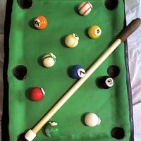 "Pool Table Cake I used 3 inch cake columns and covered them in chocolate for the ""legs"" of the pool table. I found this cake online somewere......."