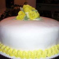 "Yellow Roses This was actually a birthday cake for a friend's mother, but it has a ""mothers day"" feel to it! Simple white velvet (again)..."