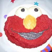 "Elmo Cake   This was my first attempt at a ""Star tipped"" cake! It was a lot of fun to do, but boy did my hand hurt afterwards!"