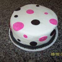 Pink And Black Polka Dots This is a chocolate velvet cake with chocolate buttercream filling. The fondant and decorations are MMF.