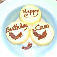 Cam's Peppers Birthday Cake I didn't have the right ingredients at home to make my husband a cake. Emergency during holidays and went with 3 small flans (my first...
