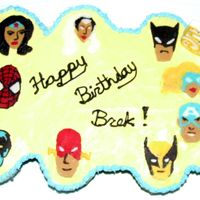 Superhero Birthday Cake My son wanted a superhero cake with his favorite superheroes on the cake. So I tried chocolate writing. First time ever attempted chocolate...