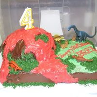 Volcano Cake My son wanted a volcano cake. I used Betty Crocker Bake 'n Fill dome pan to make the volcano. Inside the volcano was whipped cream. I...