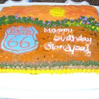 Grandpa Route 66 Birthday Cake My 4 yr old wanted to make his grandpa a route 66 cake because granpa turned 66. I was really having a hard time with frosting this cake. I...