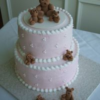 Teddy Bear Cake I made this for a woman's baby shower. She was having a little girl.