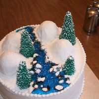 Winter Scene I made this cake for my aunt's birthday in winter. Buttercream icing with gel icing for the water, chocolate candy rocks and...