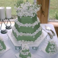 Crystal's Wedding Cake This cake was a lemon cake with green fondant icing. The cakes in front were made for the mother of the bride, the father of the bride and...